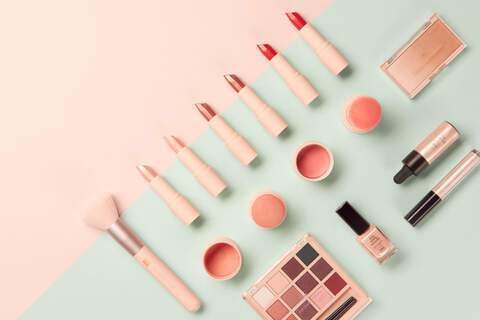 lipstick, blush, flatlay, concept, still, photography